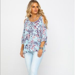 Ariat Zahara Cold Shoulder Floral Loose Fitting Blouse, S
